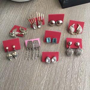 Vintage earring set of nine pairs, clip.